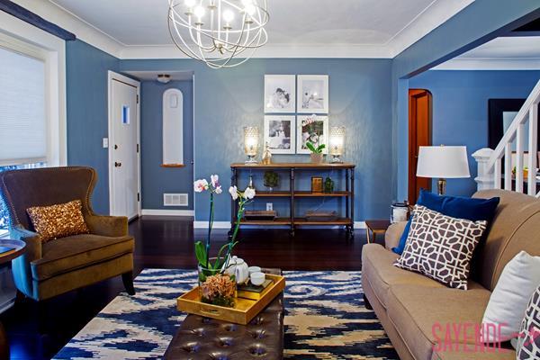 salon için mavi duvar boyası